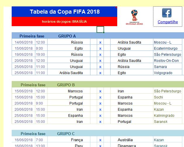 6a747cb111 Tabela Excel Para a Copa 2018